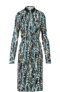 Шелковое платье-рубашка с поясом и контрастным принтом HUGO