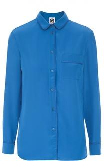 Шелковая блуза прямого кроя с накладным карманом M Missoni