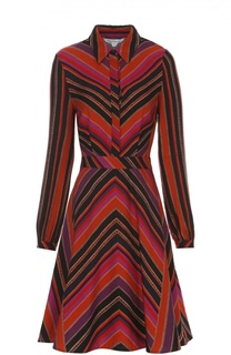 Шелковое платье-рубашка с геометрическим принтом Diane Von Furstenberg