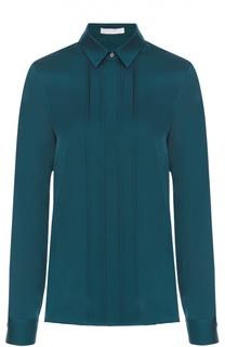 Шелковая блуза прямого кроя с планкой HUGO