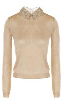 Пуловер с металлизированной отделкой и отложным воротником Alice + Olivia