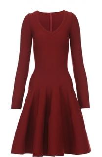 Приталенное мини-платье с длинным рукавом и V-образным вырезом Alaia