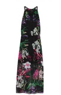 Приталенное шелковое платье-макси с цветочным принтом Elie Tahari