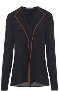 Блуза прямого кроя с контрастной отделкой и V-образным вырезом HUGO