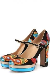 Замшевые туфли Japanese Butterfly с аппликациями Valentino