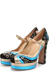 Комбинированные туфли Astro Couture с аппликациями Valentino