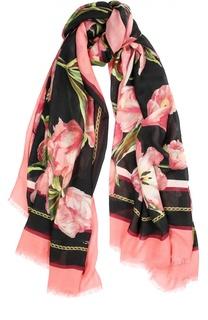 Шарф с цветочным принтом из смеси вискозы и кашемира Dolce & Gabbana