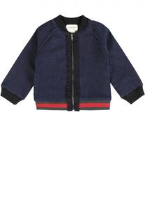 Джинсовая куртка с оборками Gucci