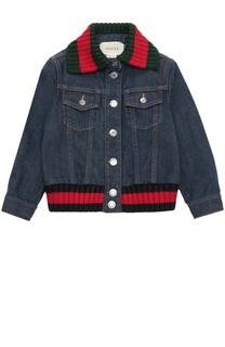 Джинсовая куртка с цветными вставками из текстиля Gucci