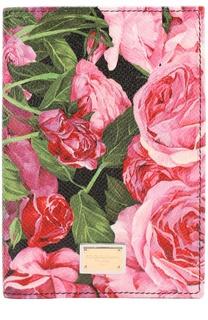 Кожаная обложка для документов с цветочным принтом Dolce & Gabbana