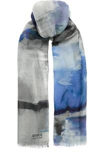 Шерстяной шарф с принтом Armani Collezioni