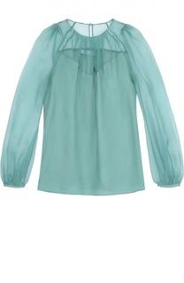 Шелковая блуза с круглым вырезом и защипами Blumarine