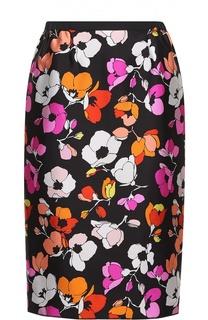 Шелковая юбка-карандаш с цветочным принтом Oscar de la Renta