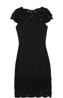 Приталенное мини-платье с кружевной отделкой St. John