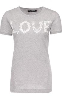 Удлиненная футболка с кружевной надписью Dolce & Gabbana