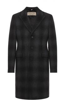 Однобортное пальто из смеси шерсти и кашемира Burberry