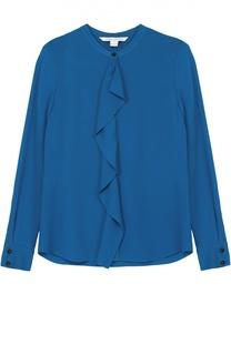 Шелковая блуза прямого кроя с оборкой Diane Von Furstenberg