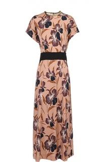 Приталенное платье с цветочным принтом и контрастным поясом Dries Van Noten