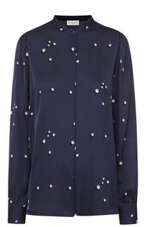 Шелковая блуза прямого кроя с принтом и воротником-стойкой Dries Van Noten