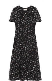 Приталенное шелковое платье с цветочным принтом и воротником аскот Saint Laurent