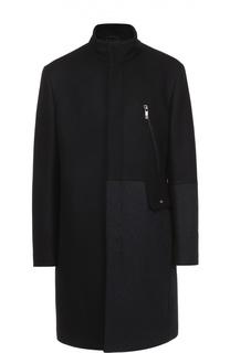 Шерстяное пальто с контрастной отделкой и воротником-стойкой Dirk Bikkembergs