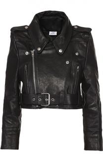 Укороченная кожаная куртка с косой молнией Vetements