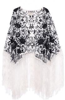 Кружевная накидка с цветочным принтом и бахромой Denim&Supply by Ralph Lauren