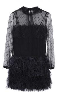 Мини-платье с перьевой отделкой и кружевным лифом REDVALENTINO