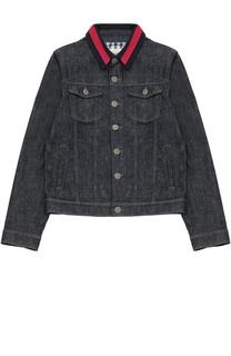 Джинсовая куртка с контрастным воротником Gucci