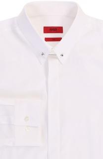 Хлопковая приталенная сорочка с булавкой HUGO