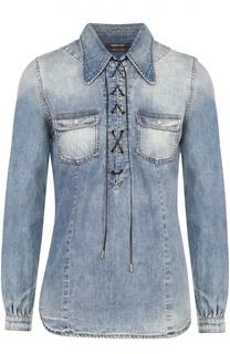 Приталенная джинсовая блуза со шнуровкой Roberto Cavalli