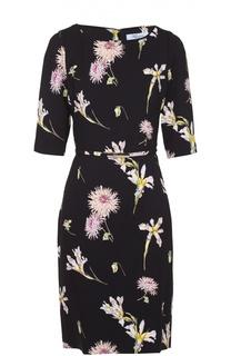 Приталенное платье с цветочным принтом и коротким рукавом Blumarine