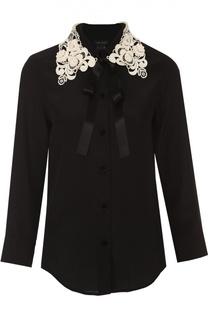 Шелковая блуза с укороченным рукавом и контрастным кружевным воротником Marc Jacobs