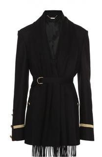 Пальто с контрастной отделкой и шарфом Givenchy