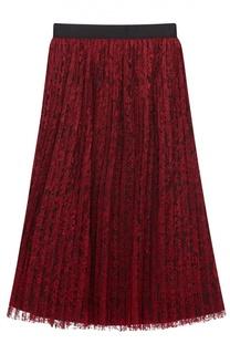 Кружевная плиссированная юбка-миди Alice + Olivia