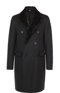 Шерстяное двубортное пальто с меховой отделкой воротника Burberry