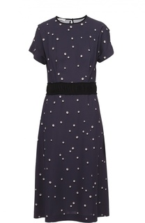 Приталенное платье с контрастным принтом Dries Van Noten