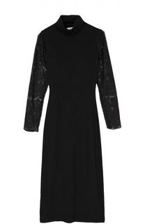 Платье-футляр с прозрачными кружевными рукавами Alice + Olivia