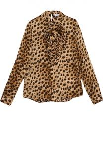 Шелковая блуза с леопардовым принтом и фактурной отделкой Blumarine