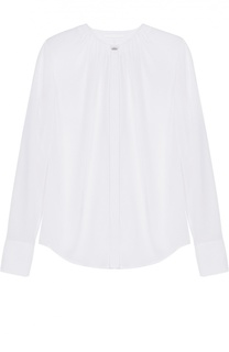 Шелковая блуза с круглым вырезом и защипами HUGO