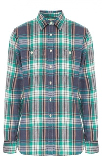 Блуза в клетку прямого кроя с накладными карманами Denim&Supply by Ralph Lauren