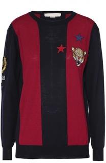 Удлиненный пуловер с контрастной отделкой Stella McCartney