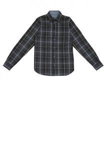 Хлопковая рубашка в клетку с воротником кент Dal Lago