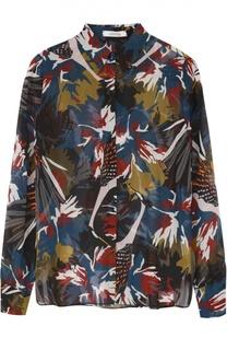 Шелковая блуза прямого кроя с контрастным принтом Dorothee Schumacher