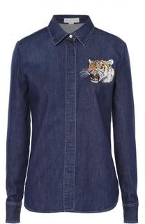 Джинсовая блуза прямого кроя с вышитым тигром Stella McCartney