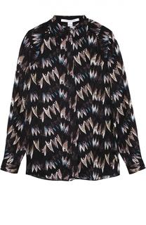 Шелковая блуза прямого кроя с контрастным принтом Diane Von Furstenberg