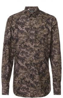 Хлопковая рубашка с камуфляжным принтом Dolce & Gabbana