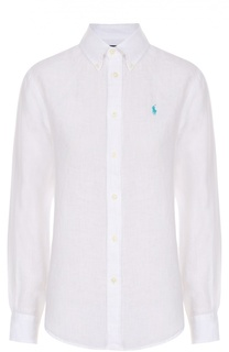 Льняная блуза прямого кроя с вышитым логотипом бренда Polo Ralph Lauren