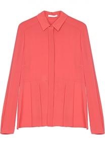 Хлопковая блуза прямого кроя со складками HUGO