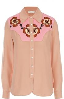 Шелковая блуза прямого кроя с контрастной отделкой Coach